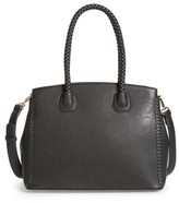 Sole Society Lexington Whipstitch Faux Leather Satchel - Black