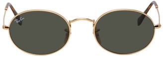 Ray-Ban Gold and Green Oval Flat Sunglasses