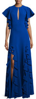 Sachin + Babi Keyhole Gown W/Ruffle Trim, Royal Blue