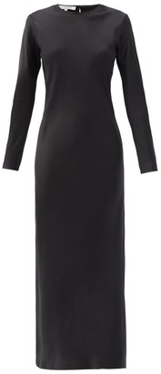 LA COLLECTION Jacqueline Long-sleeved Silk-satin Dress - Black