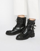 Daisy Street Lace Up Strap Chunky Flat Ankle Boots