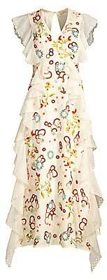 Tory Burch Women's Floral-Embroidered Ruffle Lace-Eyelet Silk Organza A-Line Dress