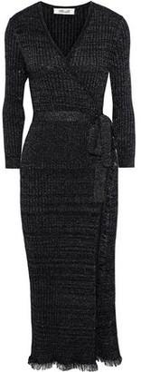Diane von Furstenberg Bobbi Metallic Ribbed Wool-blend Midi Wrap Dress