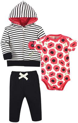 Touched by Nature Girls' Infant Bodysuits Poppy - Black & White Stripe Poppy Organic Cotton Bodysuit Set - Infant