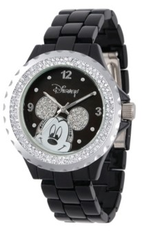 EWatchFactory Disney Mickey Mouse Women's Black Enamel Sparkle Alloy Watch