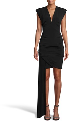 Nicole Miller Light Weight Matte Jersey Mini Dress W/ Drape