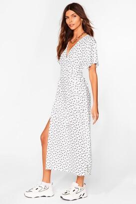 Nasty Gal Womens Daisy Belted Slit Midi Dress - White - 8