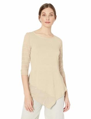 Andrea Jovine Womens Asymmetric Tunic Knit Sweater Top