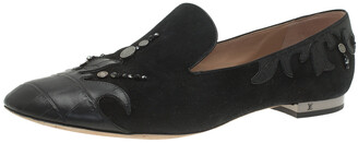 Louis Vuitton Black Beaded Suede and Crocodile Cap Toe Smoking Slippers Size 38