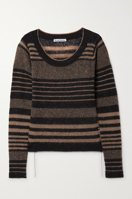 Acne Studios Whipstitched Striped Knitted Sweater - Black