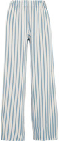 Paul & Joe Striped Crepe Wide-leg Pants - White