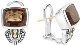 Lagos 18K Gold and Sterling Silver Caviar Color Smoky Quartz Huggie Drop Earrings
