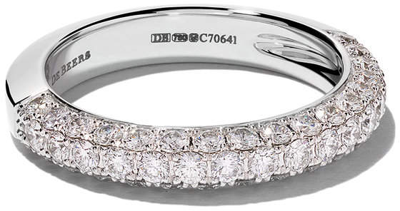 De Beers 18kt white gold DB Darling Half Pavé 3.5mm diamond eternity band