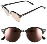 Ray-Ban Women's Clubround 51Mm Round Sunglasses - Black/ Pink
