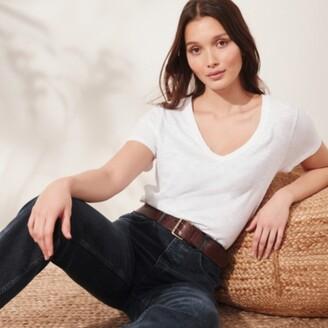 The White Company Organic-Cotton V-Neck T-Shirt, White, 6
