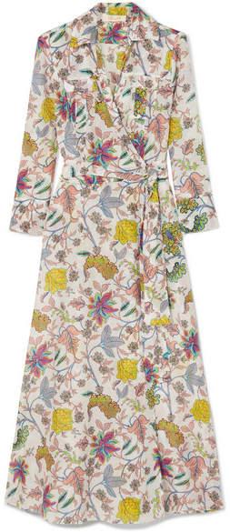 Diane von Furstenberg 印花棉丝混纺裹身式中长连衣裙