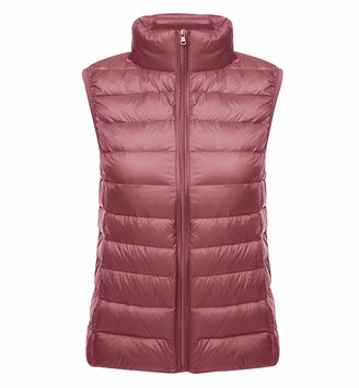 Pengniao Lightweight Down Gilet for Women Ladies Sleeveless Puffer Jacket Packable Ultra Light Down Vest Body Warmer Downs Filled Coat Quilted Padded Sleeveless Puffa Down Gilet Ultralight Winter Black XL