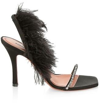 Amina Muaddi Adowa Embellished Feather Satin Sandals