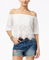 American Rag Off-The-Shoulder Crocheted Blouse, Only at Macy's