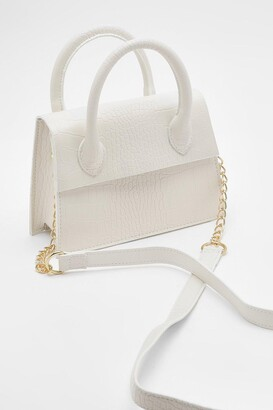 boohoo Mini Croc Structured Cross Body Bag