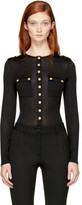 Balmain Black Long Sleeve Buttoned T-Shirt