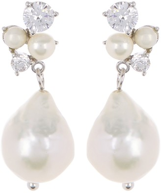 Carolee Donna CZ Cluster Freshwater Pearl Drop Earrings