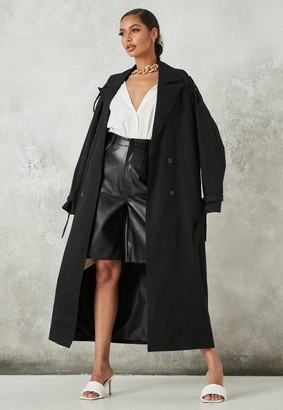 Missguided Black Oversized Trench Coat