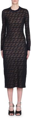 Fendi Long-Sleeve Logo Jacquard Bodycon Dress