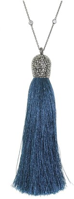 Cosanuova Royal Blue Silk Tassel Necklace