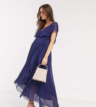 ASOS DESIGN Maternity split sleeve cape back dipped hem maxi dress with tie shoulder