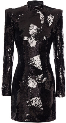 Balmain Sequined Stretch-tulle Mini Dress