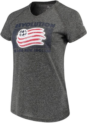 adidas Women's Heathered Gray New England Revolution Boxed Middle Performance V-Neck T-Shirt