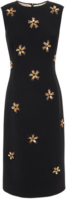 Oscar de la Renta Embellished Embroidered Tulle And Wool-blend Crepe Dress