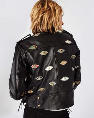 Nicole Miller Evil Eye Embellished Leather Jacket