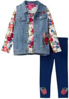 Betsey Johnson Floral Top, Denim Vest, & Legging Set (Toddler Girls)