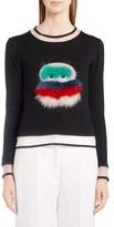 Fendi Bug Sweater with Leather & Genuine Fox Fur Trim
