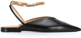 Jil Sander Bamboo Ankle-Bracelet Ballerina Shoes