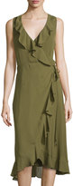 Haute Hippie Sleeveless Wrap Dress, Fatigue