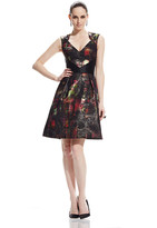 Theia 882519 Metallic Tartan Plaid Cocktail Dress