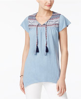 Style&Co. Style & Co Petite Embroidered Peasant Top, Created for Macy's