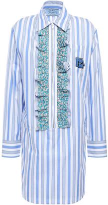 Prada Ruffled Logo-appliqued Striped Cotton-poplin Mini Shirt Dress