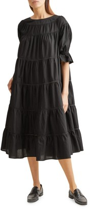 Merlette New York Paradis Puff-Sleeve Cotton Trapeze Dress
