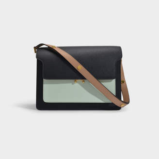 Marni Trunk Bag In Black, Blue And Brown Calfskin