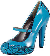 T.U.K. Teal Corset Embellished Leather Pump
