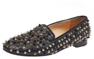 Christian Louboutin Black Leather Spiked Dandelion Smoking Slippers Size 38