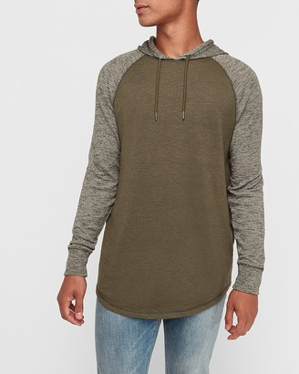 Express Hooded Marled Loose Knit Raglan T-Shirt