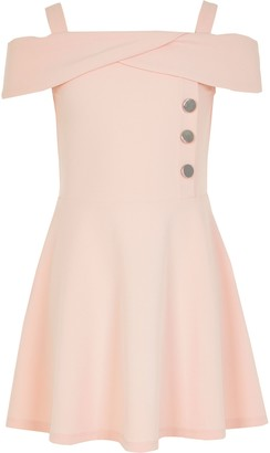 River Island Girls Pink bardot button skater dress