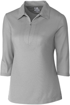 Cutter & Buck Gray Blaine Oxford Zip-Front Polo