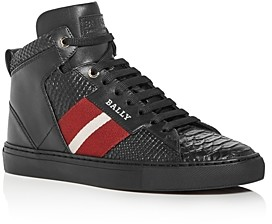 Bally Men's Hedern Snake-Embossed Leather High-Top Sneakers