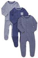 F&F 3 Pack of Striped and Plain Sleepsuits